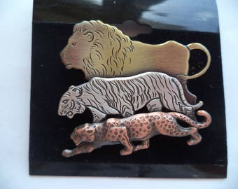 Vintage Signed K&T Assorted Trio of Big Cats Brooch/Pin