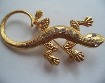 Vintage Unsigned Small/Goldtone Rhinestone Lizard Brooch/Pin