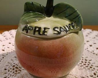 Toni Raymond Apple Sauce lidded pot - apple shaped jar vintage