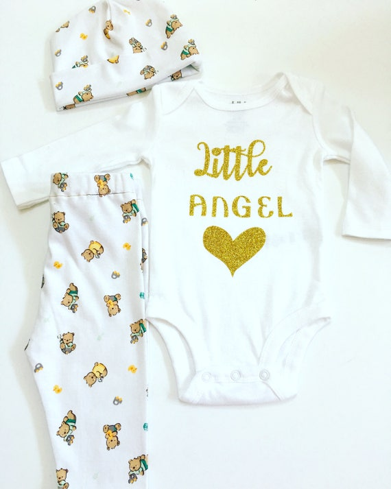 Little Angel Newborn Hospital Outfit, Coming Home Outfit,  Going Home Set, Personalized Newborn Outfit, Home Coming Outfit, Coming Home