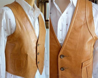 Brown leather sleeveless 3 buttons vest for men
