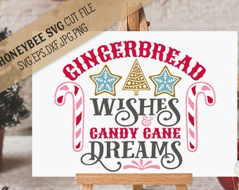 Gingerbread Wishes Candy Cane Dreams cut file with Printable
