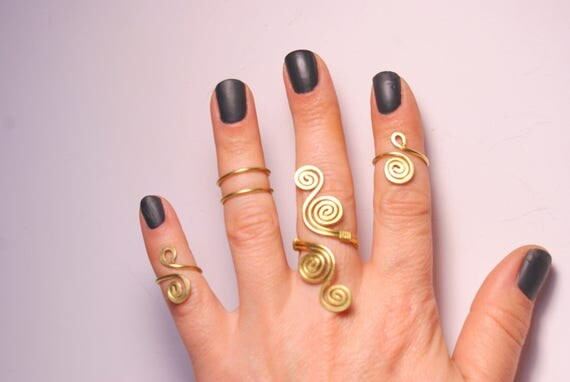 5 Gold Knuckle Rings Gold Knuckle Rings Gold Ring Set