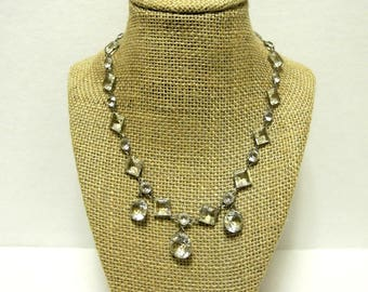 Antique Vintage Faceted Art Deco Crystal Necklace Antique Vintage Wedding Bridal Jewelry