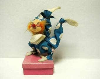 Vintage Annalee Mobilite Clown Doll Figurine Gift Box Rare Collectible Made in the USA