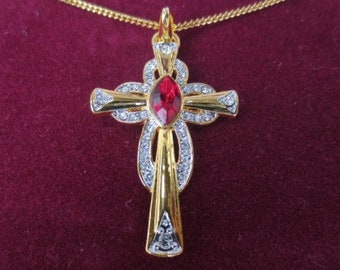 JBK Ruby Cross - Jackie Kennedy 24K GP Cross Necklace with Crystals, Box and Certificate