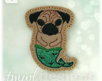 Merpug Feltie Digital Design File - brown, black, green, teal, white