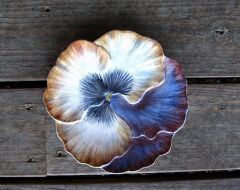 French Pottery Plate by Artist Marcel Guillot, Hand Painted Pansy, Art Pottery from France, Mid Century Vintage