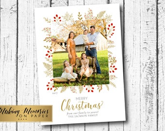 Photo Christmas Card, Gold and red Floral Christmas Card,Marsala, Red roses, Christmas Photo Card, Printable, Holiday photo card, flower