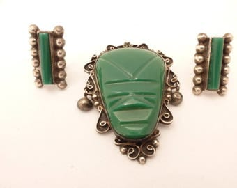 Carved Green Onyx Aztec Mask Brooch and Earrings Mexico Sterling Silver