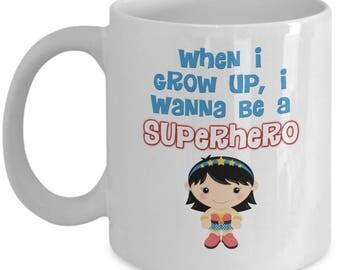 Grown Up Superhero Wonder Woman Gift Coffee Cup Mug Girl Power Hero