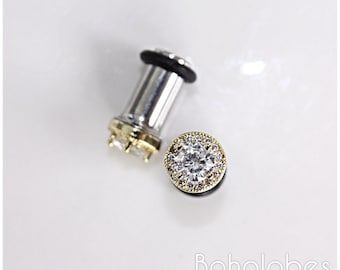 Pair of round CZ halo in yellow gold stud wedding earrings plugs for gauged or stretched ears: Sizes 14g 12g 10g, 8g, 6g 4g 2mm 3mm 4mm 5mm
