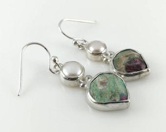 Fuchsite Ruby Earrings in Sterling Silver | Pearl Drop Earrings | Birthstone Jewelry | Gift for Her | Ruby Drop Earrings | Silver Earrings