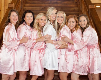 Bridesmaid Robes, Set of 15, Satin Robes, Bridesmaids Gifts, Wedding Party, Monogrammed Bridal Party Robes, Silk Bridesmaid Robes, Silk Robe