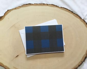 Blue and Black Buffalo Plaid Card Set - Thank You Card Set - Greeting Card Set - Hello Cards - Encouragement Cards - Blank Card Set of 6