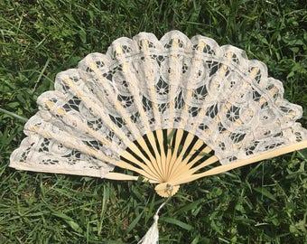 """Ivory Lace Fan for Wedding, 8"""" Hand Fan, Wedding Ceremony, Beach wedding, Wedding Favor, Party Favor, Wedding Ceremony, Lace Fan, Beige"""