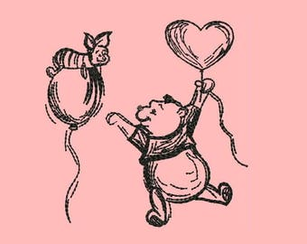 Winnie and Pooh Friends Forever Machine Embroidery Designs - Instant Download Outline Design 566