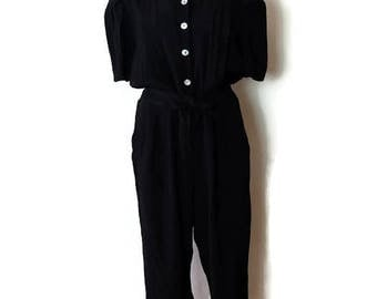 Vintage Black Slouchy Short sleeve Jumpsuit /All in one from 1980's/Minimal/Minimalist*