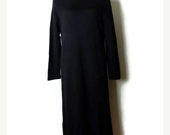 ON SALE Vintage Plain Black Long Sweater Dress from 90's/Minimal/Minimalist*