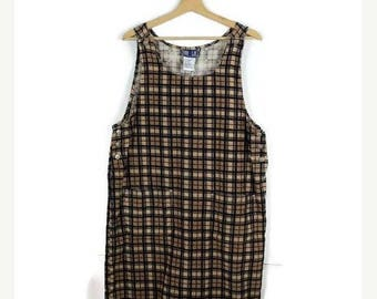 ON SALE Vintage Beige x Nany Checked/Plaid Corduroy Long Jumper /Dress from 1990's*