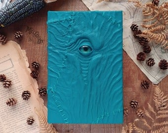 Turquoise leather necronomicon, handmade bank journal, witchcraft book of shadows, odd blank sketchbook, leather book cover, Wiccan gift