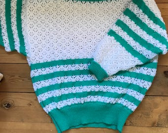 Cute 80s HANDMADE Knit Crochet Pure Wool Sweater Jumper Medium-Large