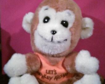 Vintage Dakin Stuffed Beanie Monkey! 1977! Let's Monkey Around! Little Rascal!