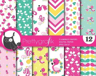 80% OFF SALE Flamingo digital papers, commercial use, flamingo scrapbook papers, flamingo papers, background - PS846