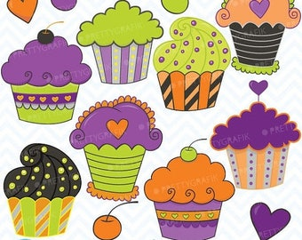 80% OFF SALE Halloween Cupcakes, clipart commercial use, vector graphics, digital clip art, digital images - CL353