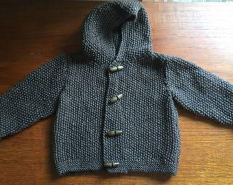 Baby boy's brown hoodie knitted cardigan