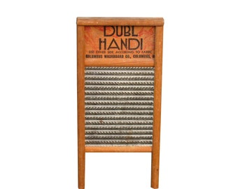 Vintage Washboard Laundry Room Decor, Farmhouse Kitchen, Dubl Handi Wood and Metal Wash Board