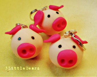 Piggy Polymer Clay Keychain