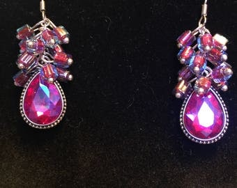 Fuschia Pink glass beaded dangle earrings, One of a Kind Beaded Jewellery Gift for Her