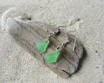 Handmade Natural Authentic Sea Glass Green Earrings Simple Drilled Petite