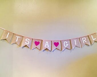 Burlap Banner - its a boy - its a girl - baby shower
