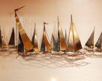 Large Curtis Jere Signed Sailboat Wall Sculpture