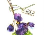 Purple Lampwork Flower Headpin Bouquet. Set of six headpins.