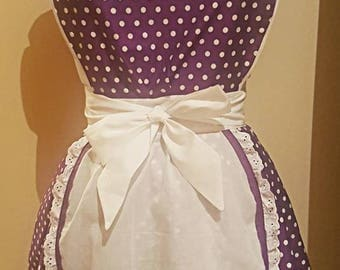 The Audrey Diner Apron - Purple Polka Dot