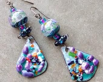 Funky fantastic Fruity Pebbles dangle earrings, Artisan handmade, OOAK boho modern art unique lightweight jewelry