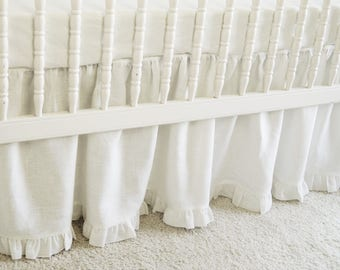 White Linen Crib  bedding -  gathered skirt  with ruffle