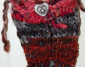 """Bohemian Knit Art Yarn Purse  * Hand Spun Chunky Wool Yarn * Pocket Book * Hand Bag * Fringe Purse*  Bohemian Bag * """"Gypsy Bag * Fairy Purse"""