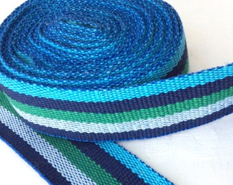 Woven Stripe Trim Ribbon in Blue and Green 6 Yards