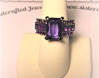 Stunning Purple Lab Created Amethyst Ring Size 8