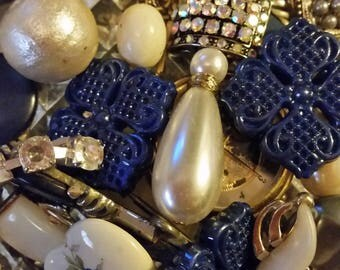Vintage Navy Blue and Pearls Mix Baubles Jewelry Destash Inspiration Upcycle Mix Lot