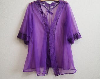 Purple Babydoll Peignoir Short - Medium Pandora