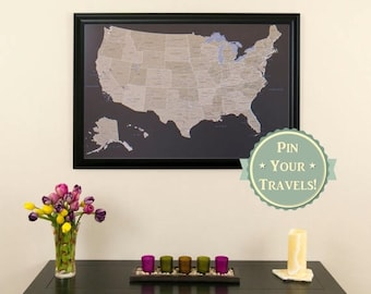 Holiday Sale Off Personalized Executive US Travel Map With - Large framed us map