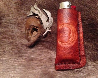 handmade leather bic lighter case with moon face