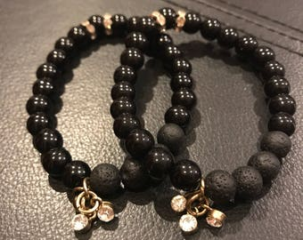 Handmade Diffuser Bracelet. All Black! Free Sample of Essential Oils!