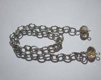silver metal chain with glass (D29)