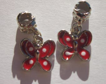 2 charms Butterfly colored metal bail (25) 14 m